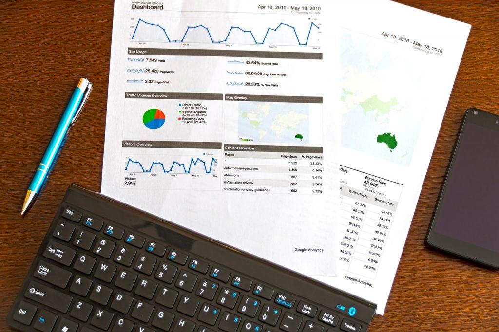 google analytics data sheets and laptop