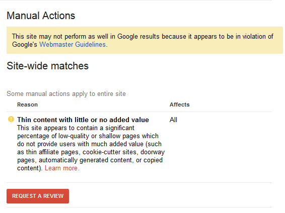 Manual penalty for thin content on Google search console