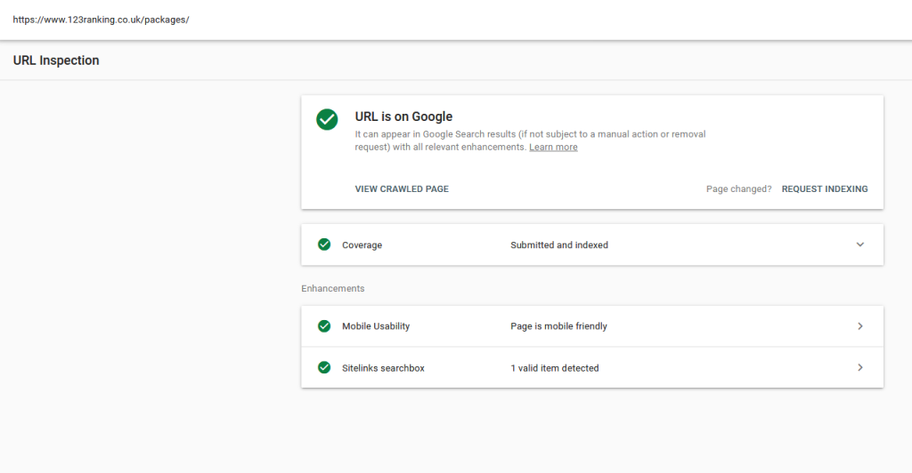 URL inspection tool on Google search console