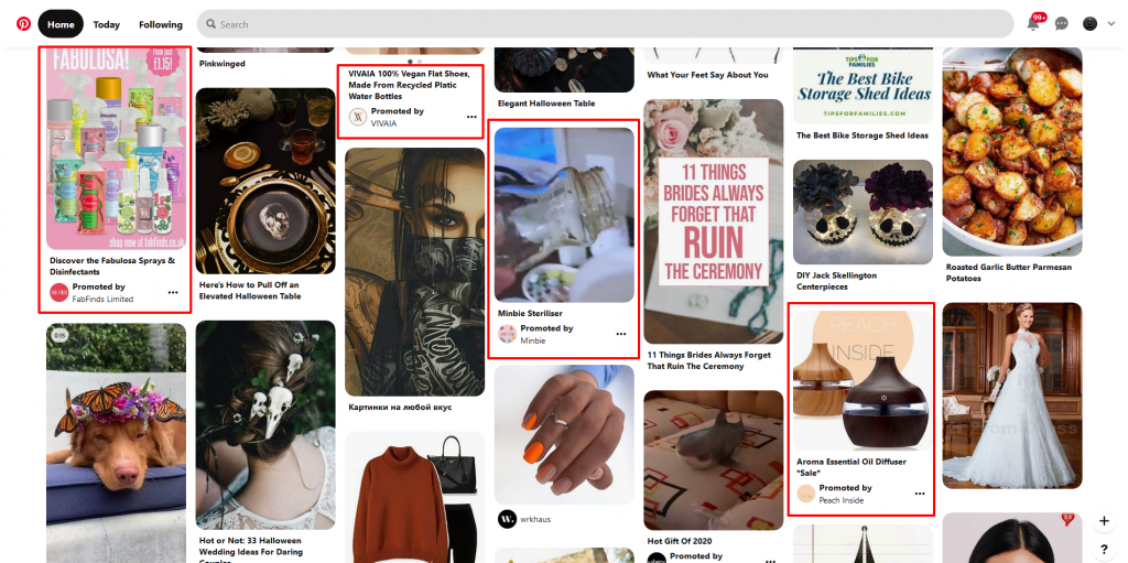 Promoted Ads on a Pinterest stream